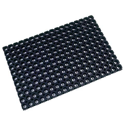 Ultralux Tapis d'entrée en caoutchouc ultra résistant pour l'intérieur et l'extérieur | 60 cm x 80 cm | Tapis de protection de sol antidérapant et résistant | Noir | Plusieurs tailles