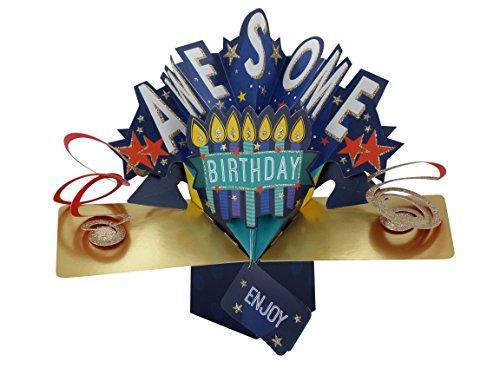 Second Nature pop UPS pop up biglietto di compleanno con scritta'Awesome Birthday e candele