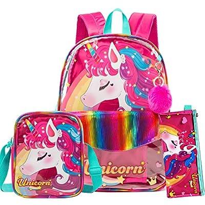 HTgroce Unicornios para Niñas Mochilas Escolares niña, Mochila Transparente &Bolso Transparente Muje Bolsa Almuerzo&,Estuche Escolar 3 in 1(Rosa roja)