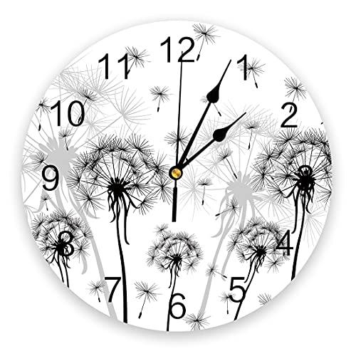 Tbqevc Reloj de Pared de Diente de león en Blanco y Negro Arte de Pared Mudo sin Reloj de Pared Adecuado para la decoración del hogar 12 Pulgadas