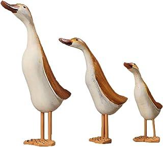 Homyl Duck Statues Figurines Set of 3, Wooden Painted Handmade Crafts for Garden