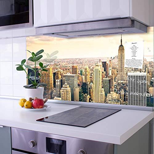banjado Glas Nischenrückwand für Küche 100cm x 50cm | Küchenrückwand mit Motiv New York City | Spritzschutz selbstklebend ohne Bohren | Fliesenspiegel magnetisch und beschreibbar