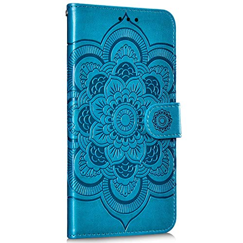 Saceebe Compatible avec Samsung Galaxy A70 Coque Housse en Cuir Pochette Portefeuille Etui Fille 3D Motif Mandala Fleur Coque Housse de Protection à Rabat Magnetique Flip Cover Stand,Bleu
