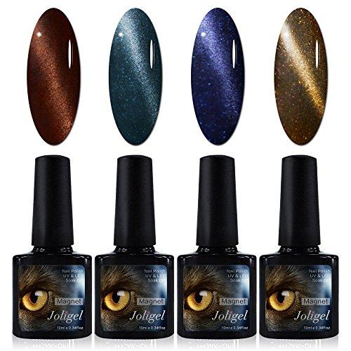 4x Esmaltes Semipermanentes Magnéticos para Uñas, Gel UV LED para Manicura Pedicura, Ojo de Gato 3D, Imán Gratis, 10ML (Marrón chocolate + Azul índigo + Azul galaxia + Verde bronce con purpurinas)