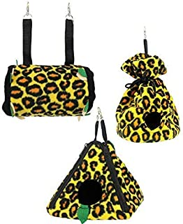 Exotic Nutrition Leopard Pouch Set - Hammocks and Bedding for Sugar Gliders, Rats, Ferrets, Chinchillas, Squirrels, Marmosets, Hamsters, Gerbils & Small Animals
