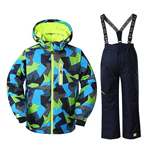 HOTIAN Boys Windproof Waterproof Ski Jacket Insulated Snow Jacket Pants Ski Suit (Size US 4 - US 16) (US 10 (Height 135CM ), style5)