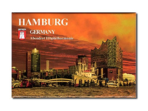 City Souvenir Shop Foto-Magnet Hamburg, Elbphilharmonie im Abendrot, ca. 8 x 5,4 cm