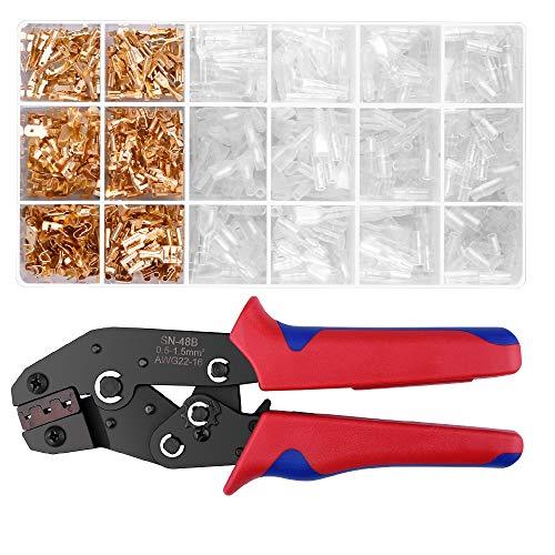 AUKUYEE Crimpzange Flachsteckhülsen Set, Selbsteinstellbar Crimpwerkzeug für Automatische Klemmen Ratsche von mit 600 Stück Männlich und weiblich Flachstecker AWG22-16 (0,5-1,5 mm²)