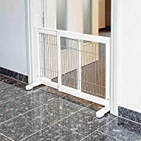 Dog barrier is suitable for dogs of all sizes and breeds Used to restrict access to rooms and stairs Includes small walk-through door with closure for passage of smaller pets Glazed pine, galvanized metal bars, rubber material Non-slip rubber feet ke...