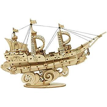 ROKR 3D立体パズル 木製パズル レーザーカット ギア ミニチュア 機械式モデル組み立てキット モデル 誕生日 大人 新年 ギフト クリスマス プレゼント(帆船)TG305