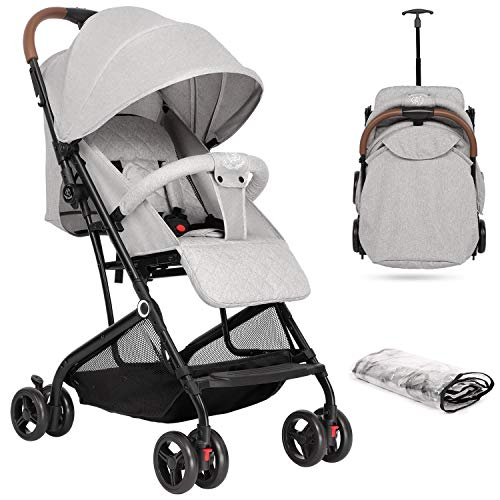 Hello-5ive Baby Stroller, Lightweight Foldable Pushchair with Rain Cover, Five-Point Harness, Adjustable Seat, Travel Buggy Pram from Birth 0-3 Years for Airplane