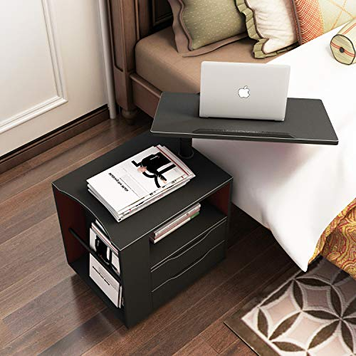 SogesPower Wood Nightstand for Bedroom Adjustable and Movable End Table Side Table for Living Room,Black