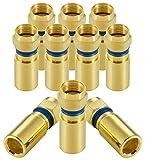 Poppstar 10x Juego de Conectores coaxiales, Conector F compresión para Cable de Antena, Cable coaxial hasta 7,5mm, Resistente a la Intemperie, Dorado