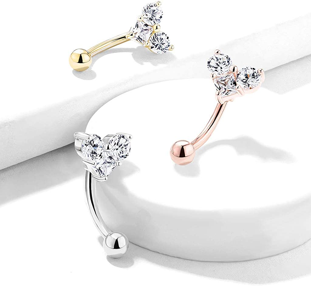 Amelia Fashion 16 Gauge Three Prong Set Round and Square CZ Heart Curved Barbell/ Eyebrow Ring 316L Surgical Stainelss Steel (Choose Color)