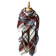 Durio Women's Scarves Soft Plaid Blanket Scarf Oversized Cashmere Chunky Tartan Shawl Scarfs for Autumn Winter Fuchsia