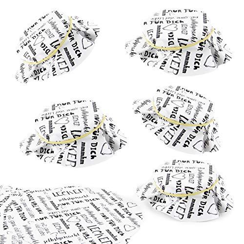 Logbuch-Verlag 25 Marmeladendeckchen aus Papier - Gläserdeckchen schwarz weiß mit Text - rund Ø 14,8 cm - Papierdeckchen für Gläser