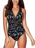 Aleumdr Womens Retro Hollow Out V Neck One Piece Monokini Swimwear Plunge High Cut Bathing Suit Black Print Large 12 14