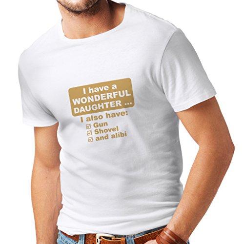 lepni.me T-Shirt pour Hommes J'Ai Une Fille Merveilleuse, Arme à feu, Pelle, Alibi, Cadeau d'humour (Small Blanc Or)