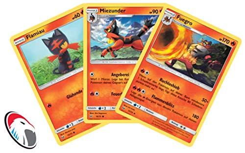 Flamiau, Miezunder & Fuegro Set Pokémon Schimmernde Legenden Sammelkarte - Deutsch - Cardicuno