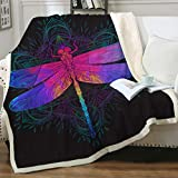 Sleepwish Dragonfly Fleece Throw Blanket Neon Blue Purple Pink Dragonfly Blankets Boho Insect Print Sherpa Blanket for Kids Teens Adults