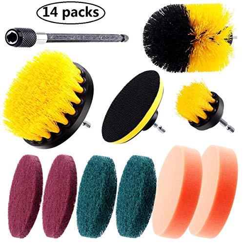 CestMall Drill Brush, Power Drill schuurborstel met 3 soorten reinigingsaccessoires en verlengstangen voor badkamer, zwembad, vloerbedekking en autorad, tapijtreiniging, universele boorborstel
