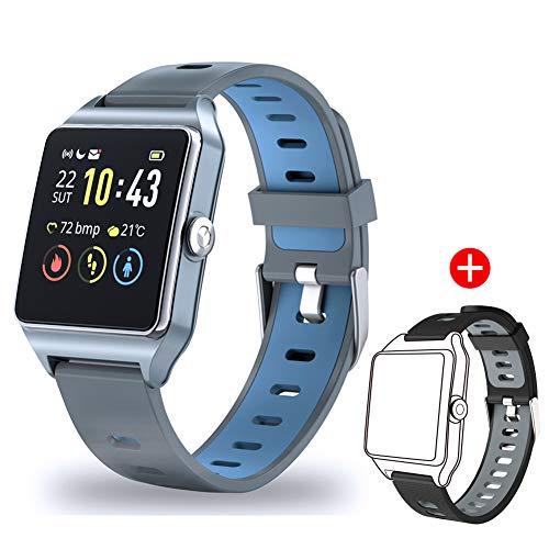 Motok Smartwatch, fitnesstracker 1,3 inch touchscreen met hartslagmeter en slaapmonito, fitness polshorloge GPS sporthorloge IP68 waterdicht stappenteller-horloge voor Android en iOS zwart/grijs
