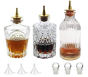 Bitters Bottle Set - Glass Vintage Bottle Decorative Bottles with Zinc Alloy Dash Top Great Bottle For Your Bitters  3