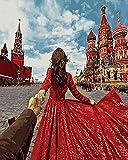 LKAZLL Pintura por números para Rusia Hogar y Salón Decoración Falda Roja Mujer 16x20'