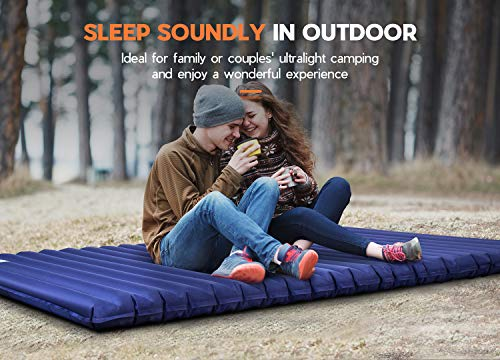 Hikenture Double Sleeping Pad,Extra Thick 3.75in Camping Mattress 2 Person,Queen Size Inflatable Air Mat,Lightweight and Compact,for Backpacking,Car Camping,Hiking,Tent,Cot(Navy Pumpsack)