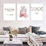 Poster e Impresiones de la Botella de Perfume Rosa de la Acuarela Moda Flores Rosadas Pintura de la Lona Vogue Wall Art Cuadros para la Decoracion de la Sala de Estar 40x60cmx3 Sin Marco