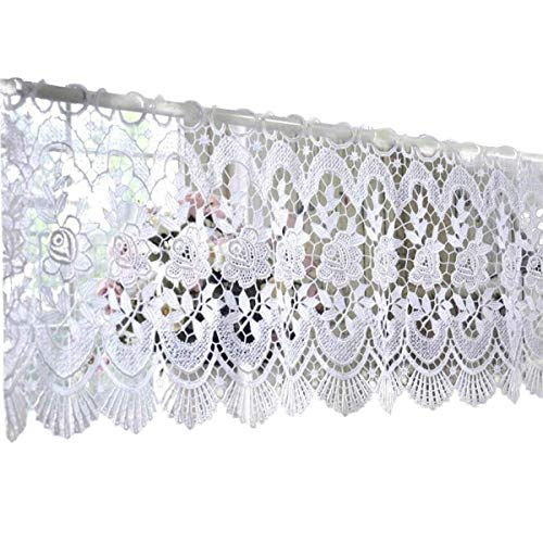 "White Victorian Lace Flower Curtain Valance Crochet French Country Window Treatment Decorative Home Goods 52 inch by 11.8 inch (One Panel, 52"" W x 11.8"" L)"