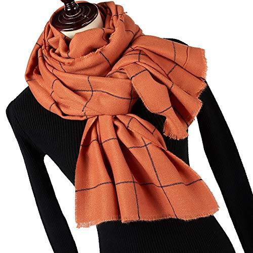 jiao Bufanda a Cuadros de Moda de Punto de Color Solider de Invierno para Mujer, Bufanda de...
