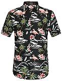 SSLR Camisa Manga Corta con Estampado de Flamencos y Flores 3D Estilo Hawaiana de Hombre (Large, Negro)