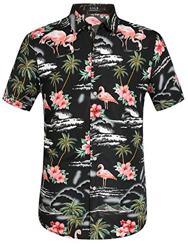 SSLR Camisa Manga Corta con Estampado de Flamencos y Flores 3D Estilo Hawaiana de Hombre (Medium, Negro)