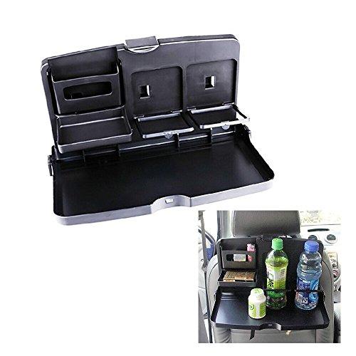 Veelzijdige klaptafel/dienblad voor bevestiging op de achterbank, met beker- en flessenhouder, voor het eten en voor dranken, van ABS-kunststof en polypropyleen, zwart.