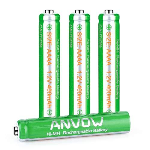 AAAA-Batterien, ANVOW wiederaufladbare AAAA Akku für Surface Pen, Active Stylus, NI-MH 1,2 V 400 mAh, 4 Stck