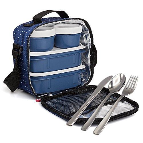Kit Urban Food con Cubiertos en Acero Inoxidable 18/0 Niquel Free - Bolsa Térmica Porta Alimentos con 4 Tapers Herméticos. Dots Azul