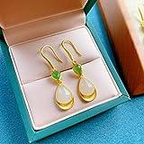 Makfacp Pendientes de Plata Antigua, Oro de Jade hetiano Esmerilado de Arte Antiguo, Pendientes de Gota de Jaspe, Pendientes de Plata esterlina Personalizados