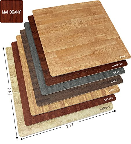 Sorbus Wood Floor Mats Foam Interlocking Wood Mats Each Tile 4 Square Feet 3/8-Inch Thick Puzzle Wood Tiles with Borders - for Home Office Playroom Basement (12 Tiles 48 Sq ft, Wood Grain - Gray)