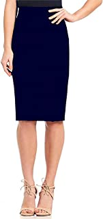 Indian Dresses Store Stars and You Formal Pencil Skirt with Elastic Waist Band Navy Blue
