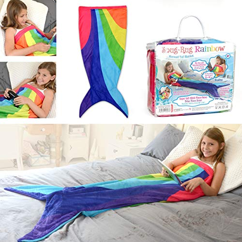 Snug Rug Rainbow Mermaid Tail Multicolor Super Suave Calidad Visón Manta De Lana hasta 5ft Alto Poliéster, 61 x 5 x 142 cm