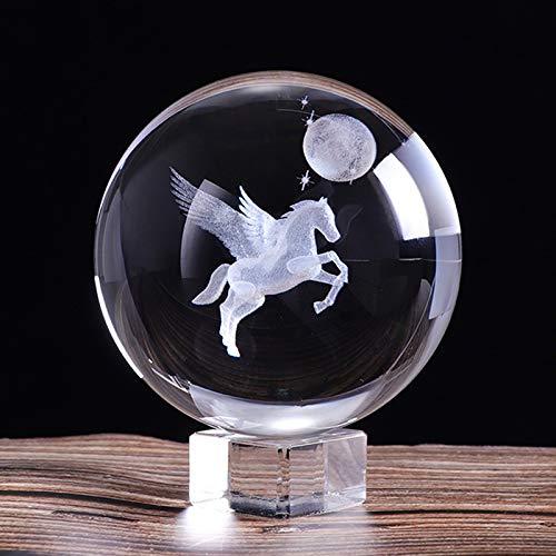 Adivinación con Bola de Cristal 80 mm 3D Láser Grabado en Miniatura Pegasus Crystal Ball Crystal Craft Sphere Glass Decoración del hogar Regalo de cumpleaños Bola de Cristal