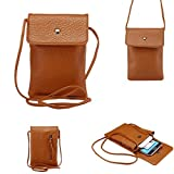 WaitingU Universal Crossbody Cell Phone Bag PU Leather Carrying Cases Credit Card Holder Shoulder Pouch Bag for iPhone 6/6S Plus 6/6S Samsung Galaxy Note Series Phones Under 6.2 inchs -Light Brown