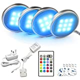 Bason Under Cabinet Kitchen Lights, Under Cupboard Lighting with Remote Control, LED Colour Changing Kitchen Shelf Decoration, for Counter/Bookcase/Closet, 4 Pack