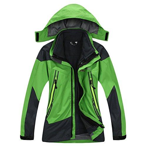 SYRINX Enfants 3 en 1 Veste Coupe-Vent Capuche Imperméable Outdoor Camping Randonnée Trekking Manteau avec Veste Polaire (Medium, Vert)