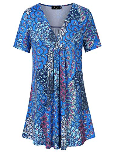 AMZ PLUS Women's Plus Size Pleated V-Neck Henley Tops Flowy Loose Blouse Casual Tunic T Shirt Floral Print Short Sleeves Peacock Feather 3XL