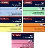 Herlitz Karteikarten A6, Liniert (500 Stück, Farbig Sortiert in Grün, Gelb, Rot, Blau & Orange)
