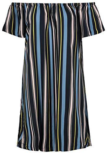 Fresh Made Damen Sommer-Kleid Schulterfrei mit Print Dark-Blue XS