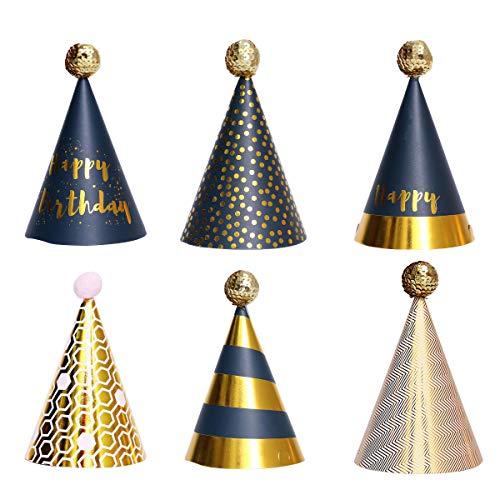 Partyhüte, 6 PCS Geburtstagsfeierkegelhüte mit Pompons, Partyhüte aus Papier, Kuchengeburtstagsfeierkegelhüte für Kinder, Partydekorationen (schwarz)