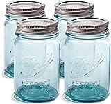 Ball Aqua Canning Jars 16 oz Regular Mouth - [Set of 4] Vintage Mason Jars Aqua-colored glass with Airtight lids & Bands - DIY crafts & Decor - Safe For Canning, Pickling, Storage +SEWANTA Jar Opener